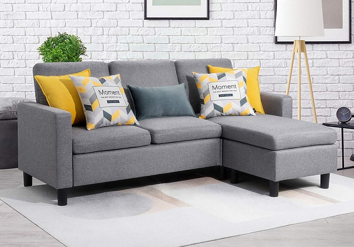 L-Shape Sectional Couch with Reversible Chaise