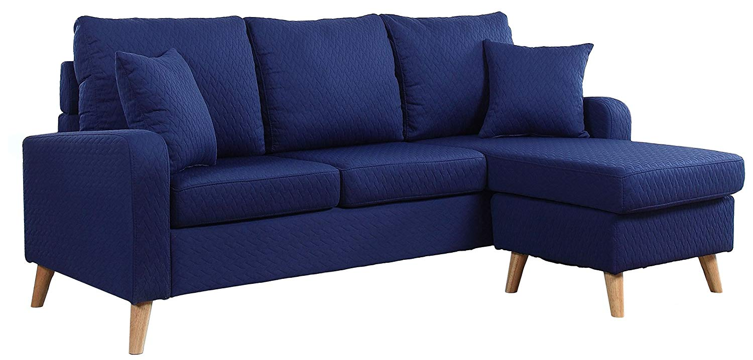 Mid Century Modern Linen Fabric Small Space Sectional Sofa with Reversible Chaise