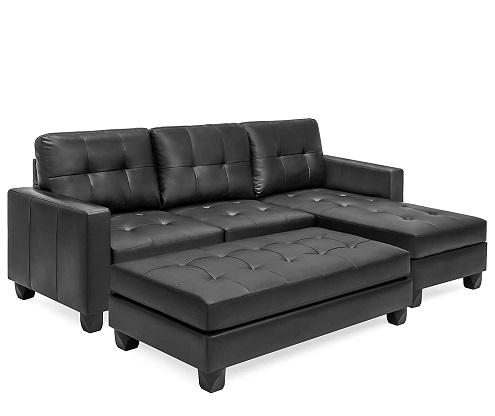 Best Choice Products Tufted Faux Leather 3-Seat L-Shape Sectional Sofa Couch