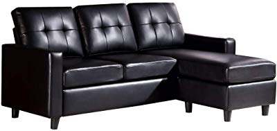 HONBAY Convertible Sectional Sofa Faux Leather Couch